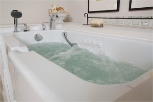 aging in place walk in tub bathroom spa roll-in shower Jacuzzi